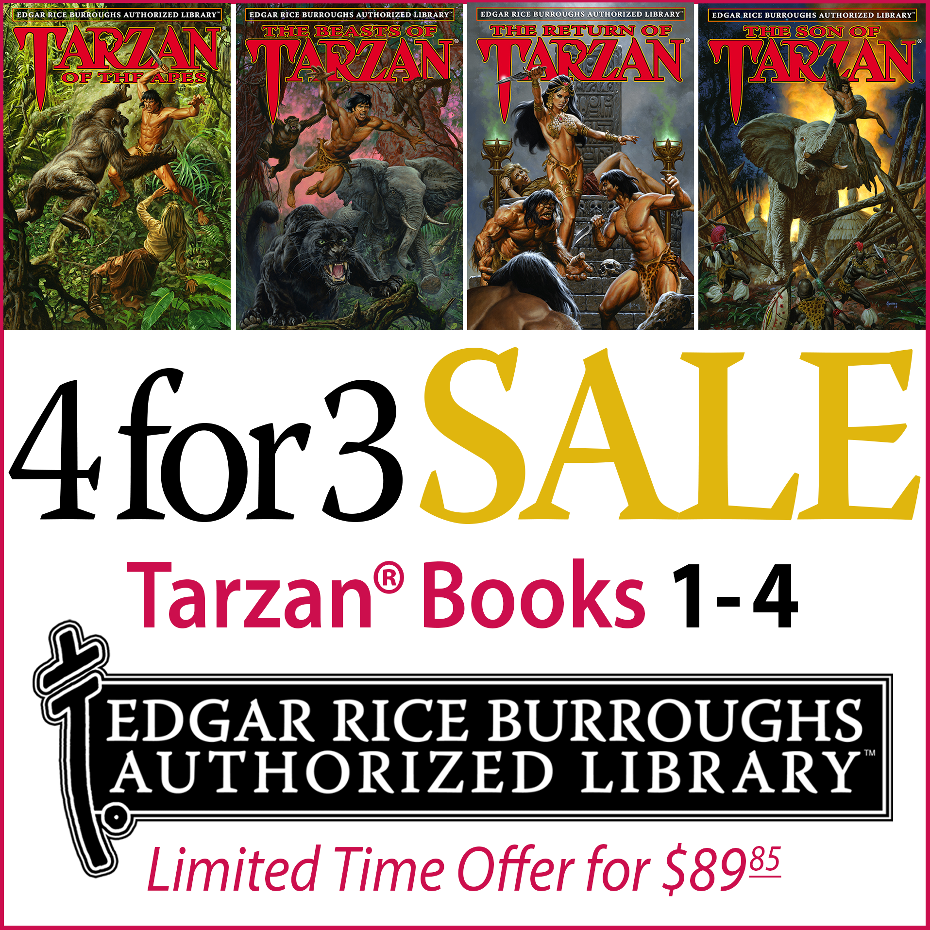 Edgar Rice Burroughs Authorized Library Sale (Books 1-4)